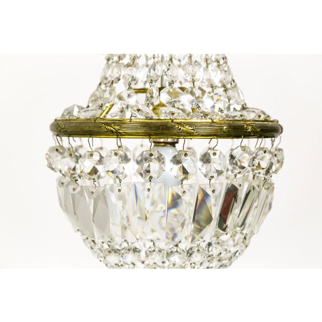 Brass Petite Crystal Basket Chandeliers (Pair) For Sale - Image 7 of 10