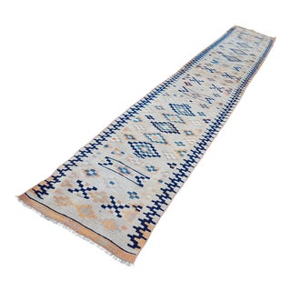 1970s Vintage Muted Colored Long Narrow Kilim Runner With Blue and Orange - 2′5″ × 14′9″ For Sale