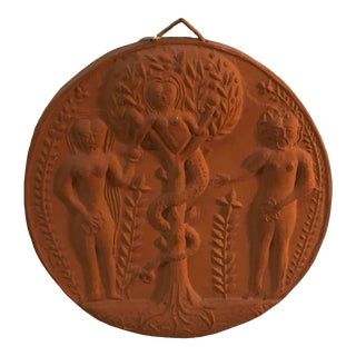 1960s Vintage Terra Cotta Plaque - Signed For Sale