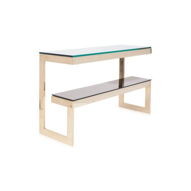 Belgo Chrome Gold Layered G Two-Tier Console Table For Sale - Image 4 of 9