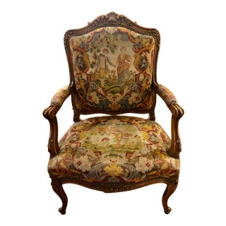 19th Century French Carved Walnut and Tapestry Armchair For Sale