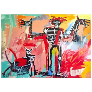 "Jean Michel Basquiat Estate Fine Art Lithograph Collector's Pop Art Print "" Boy and Dog in a Johnnypump "" 1982 For Sale"