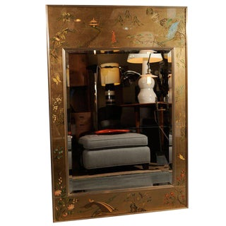 Vintage Chinoiserie Reverse Painted Gold Leaf Mirror by La Barge For Sale