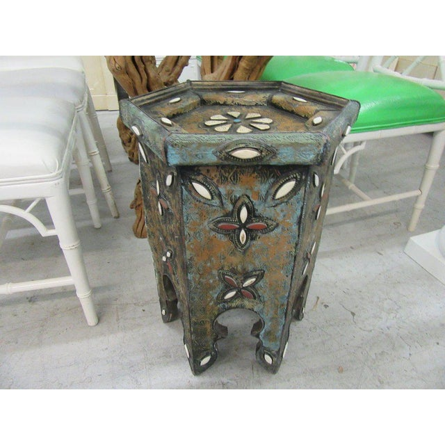 Tin & Gemstone Moroccan Occasional Table - Image 7 of 7