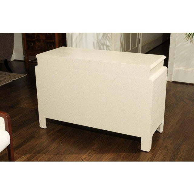 White Gorgeous Restored Raffia Cabinet by Harrison-Van Horn in Cream Lacquer For Sale - Image 8 of 11