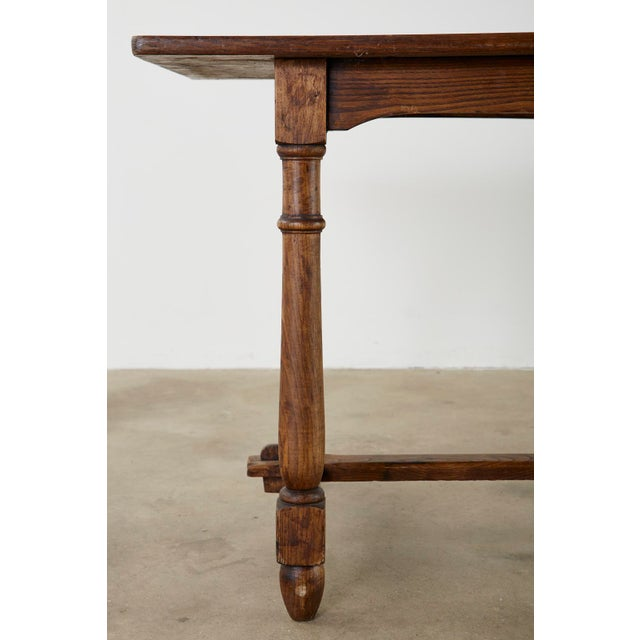 Country English Provincial Oak Farmhouse Trestle Dining Table For Sale - Image 9 of 13