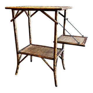 19th C. English Tea or Pastry Table in Tortoise Bamboo For Sale
