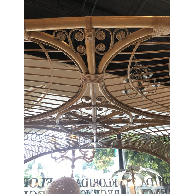 Bamboo Vintage Tropical Boho Palm Beach Rattan Queen Size Canopy Bed For Sale - Image 7 of 13
