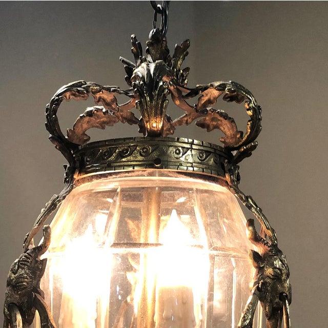 Antique Bronze & Crystal Lantern Chandelier For Sale - Image 11 of 12