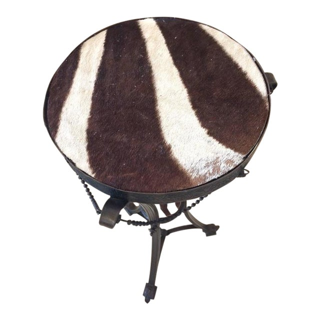 Antique French Bronze & Zebra Hide Gueridon Table - Image 1 of 8