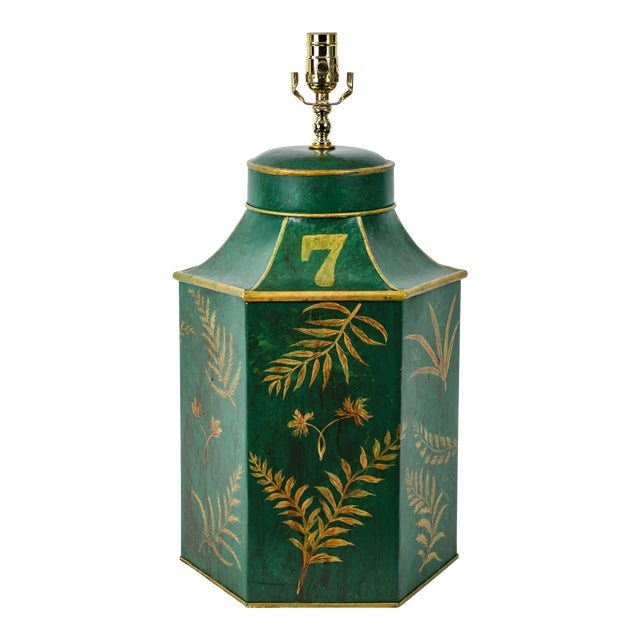 Vintage English Export Painted With Ferns Leave Style Green Hexagonal Tea Caddy Lamp For Sale