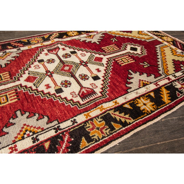 "Ruby Red Early 20th Century Vintage Anatolian Rug, 2'9"" X 5'4"" For Sale - Image 8 of 10"