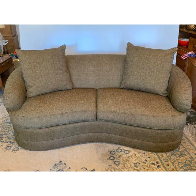 Modern Drexel Heritage Kidney Shape Olive-Green Curved Sofa For Sale - Image 3 of 12