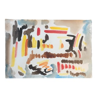 Original Vintage Abstract Watercolor by Jacob Semiatin For Sale
