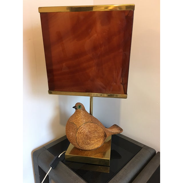 1970s AMAZING ITALIAN MODERNIST CERAMIC PARTRIDGE WITH TORTOISE SHELL LUCITE SHADE For Sale - Image 5 of 8