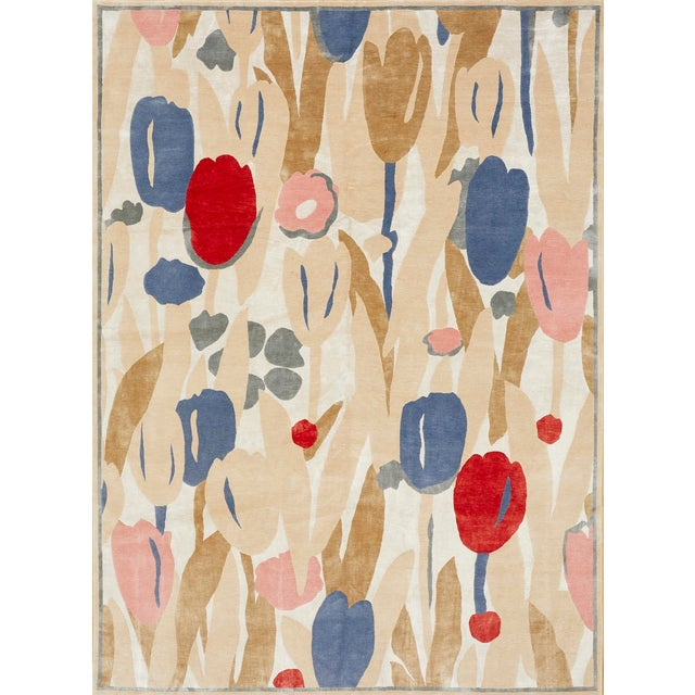 Contemporary Schumacher Patterson Flynn Martin Promenade De Printemps Grande Hand Knotted Wool Silk Modern Rug - 9′ × 12′ For Sale