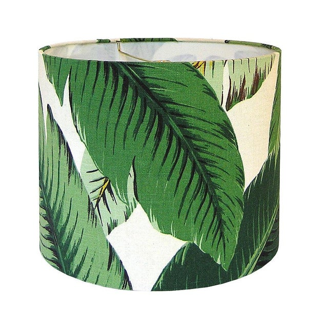 Swaying Palms Green Drum Lamp Shade For Sale - Image 4 of 4