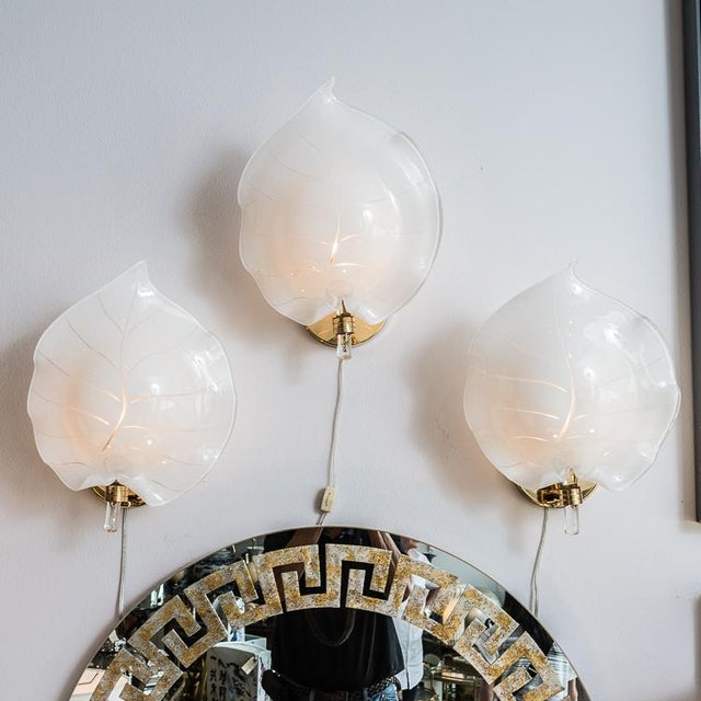 Beautiful Murano Glass Large Wall Leaf Sconces By Franco Luce, Set of 3. Murano handblown white and clear leaf wall...