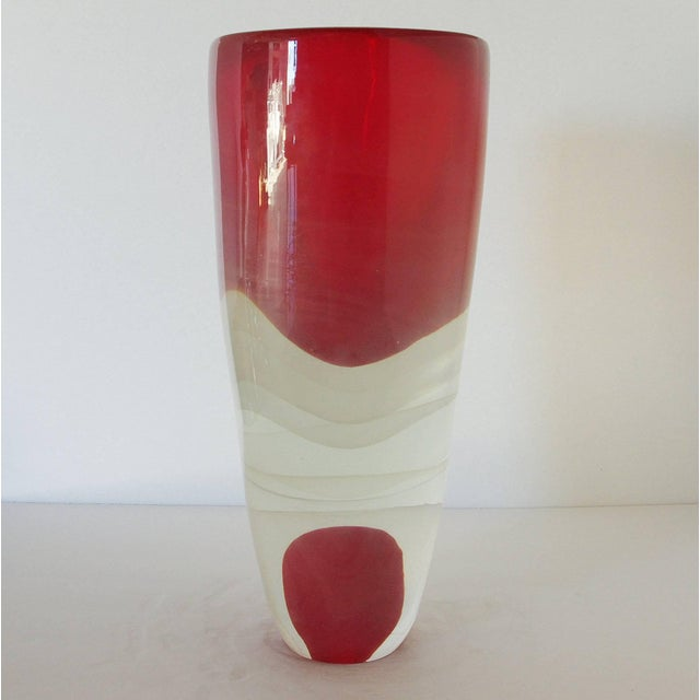 Italian Red Sommerso Murano Glass Vase by Romano Dona For Sale - Image 3 of 8