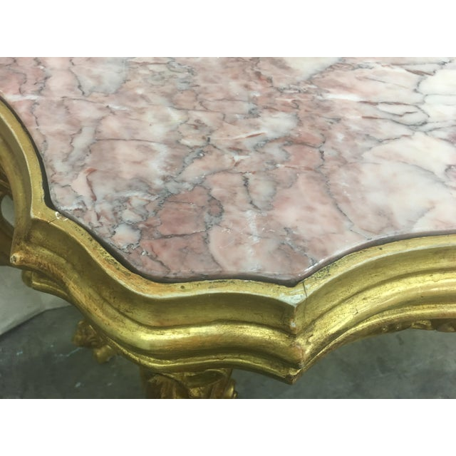 White 19th C Italian Gilt Wood and Marble Top Console Table For Sale - Image 8 of 13