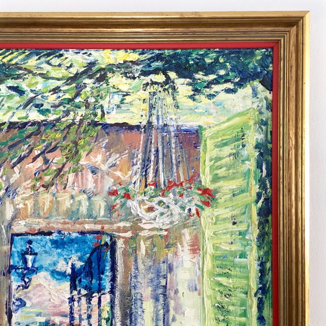 Original Spanish Courtyard Oil Painting For Sale In Chicago - Image 6 of 12