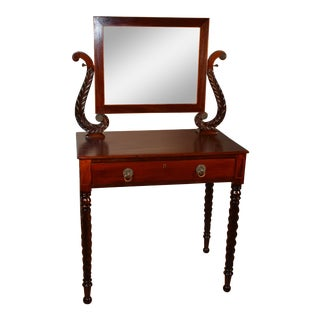 1840s Antique Federal Empire Mahogany Vanity Desk / Ladies Desk For Sale