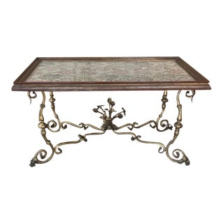 Antique Italian Wrought Iron & Glass Top Coffee Table For Sale
