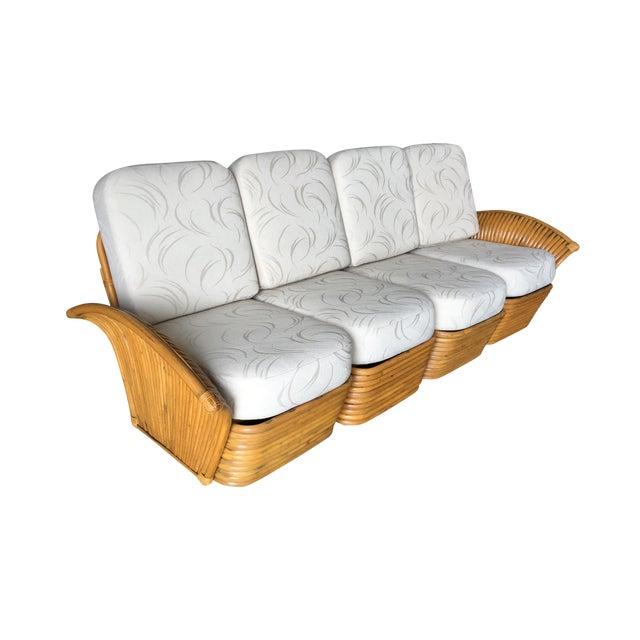 Restored Art Deco Rattan Fan Arm Four-Seat Sofa