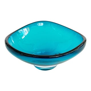 Vintage Italian Blue Ocean Turquoise Ashtray Dish Murano Style Blown Glass Free Form