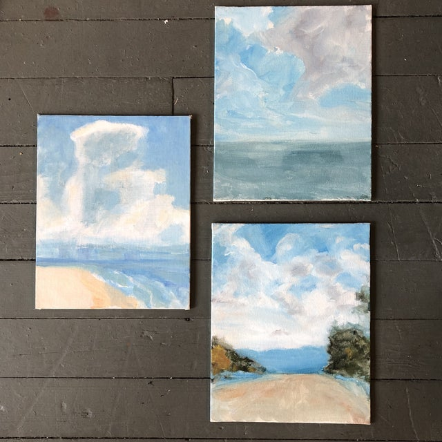 Gallery Wall Collection 3 Contemporary Impressionist Seascape Paintings Set of 3 For Sale In Philadelphia - Image 6 of 6