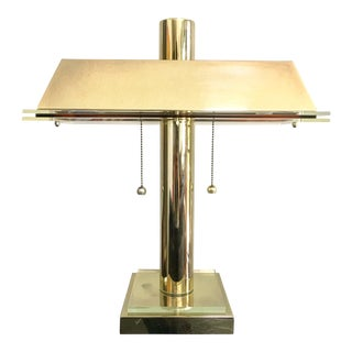 1980s Modern Brass and Lucite Desk Lamp