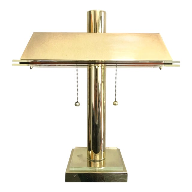1980s Modern Brass and Lucite Desk Lamp For Sale
