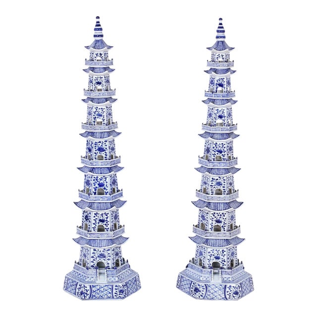 Chinese Blue and White Porcelain Pagodas - A Pair For Sale