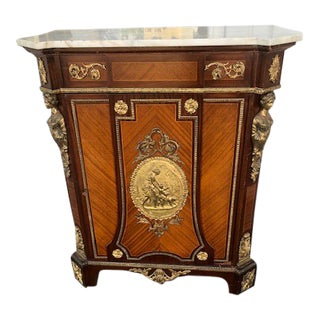 1990s French Reproduction Marble Top Cupboard For Sale
