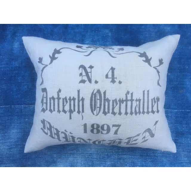 Custom pillow made with an antique European grain sack with newly added silk screen pattern. New neutral linen backing...