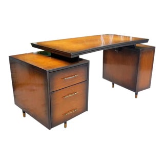 Mid-Century Floating Top Curved Front Face Desk