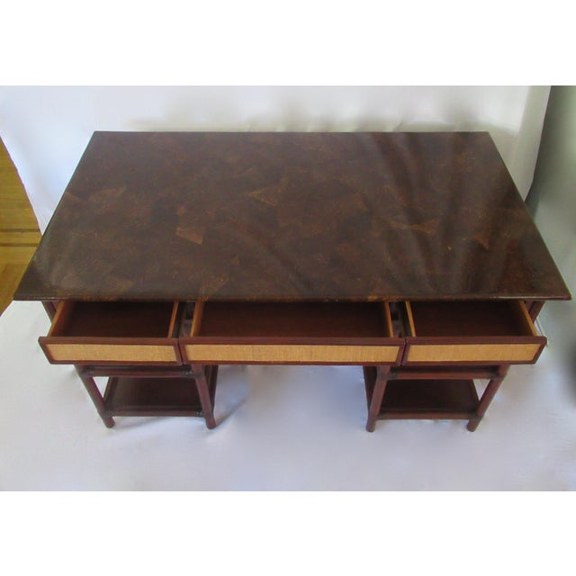 1970s British Colonial-Style Rattan Tobacco Leaf Top Writing Desk For Sale - Image 11 of 13