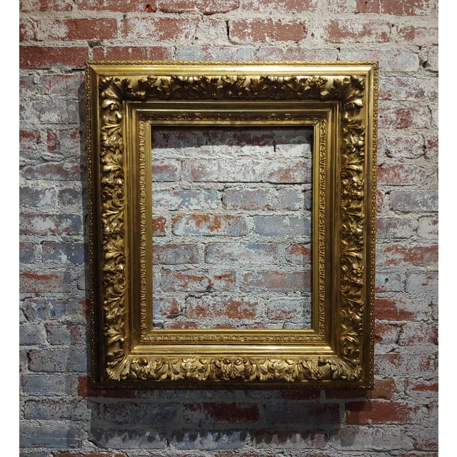Wood 19th Century -Highly Carved & Ornate Gilt-Wood Frame For Sale - Image 7 of 7
