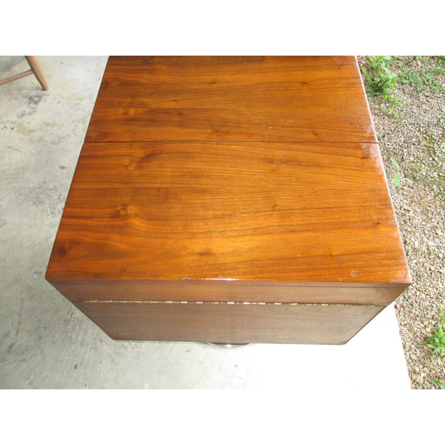 1978 Vintage Lane Danish Modern Style Mid Century Walnut Pedestal Swivel Bar For Sale - Image 11 of 11