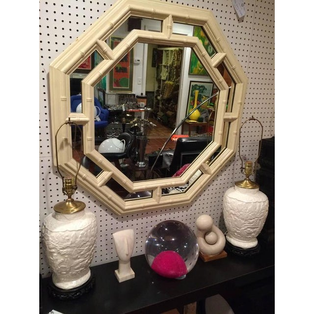 White Faux Bamboo Hollywood Regency Octagonal Mirror For Sale - Image 8 of 11