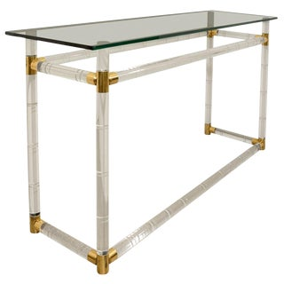 Faux Bamboo Console in Lucite and Brass by Charles Hollis Jones For Sale
