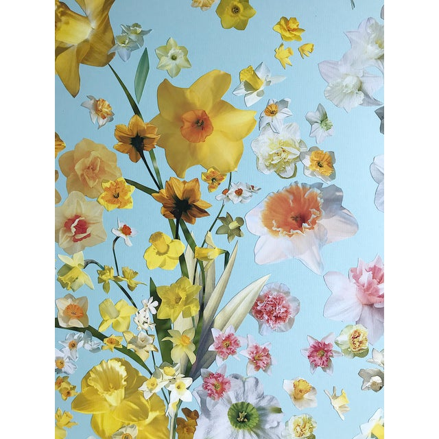 """2020s Marcy Cook """"Vase of Daffodils"""" Original Fine Art Collage For Sale - Image 5 of 7"""