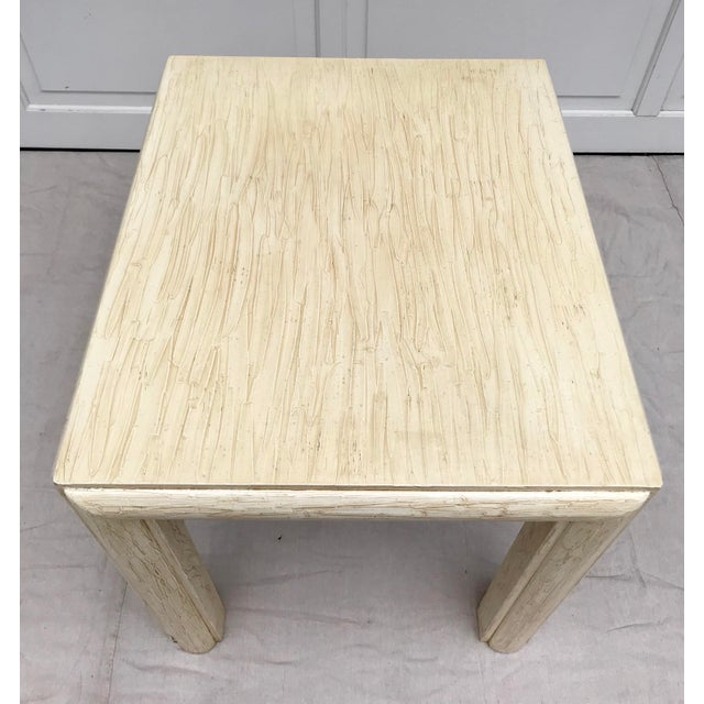 Late 20th Century 20th Century Contemporary Drexel Et Cetera Ivory Textural Side Table For Sale - Image 5 of 7