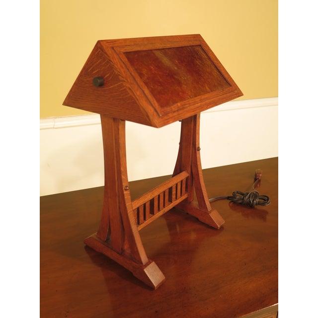 Stickley Mission Oak Arts Crafts Desk Lamp W Faux Mica Shade Age C