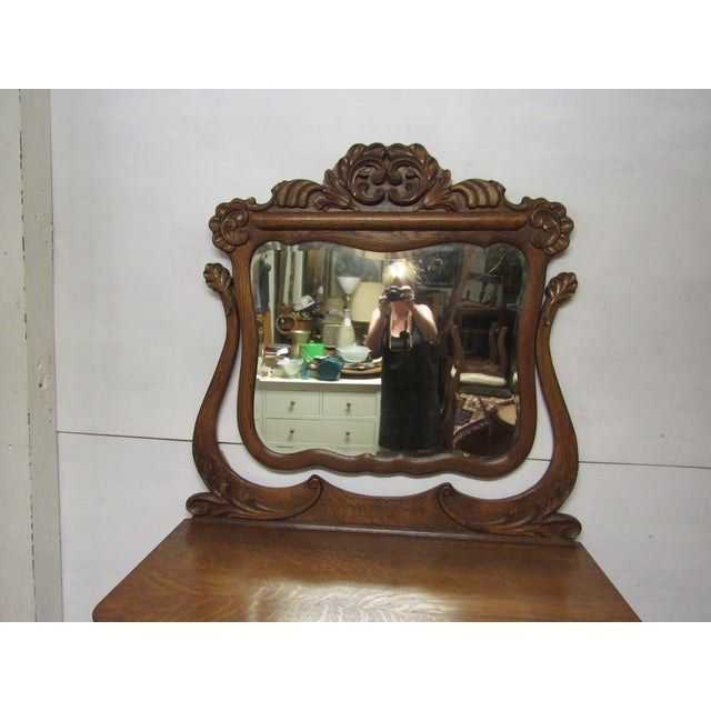 Early 20th Century Antique Tiger Oak Dresser & Mirror For Sale In Los Angeles - Image 6 of 7