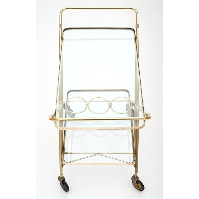 Metal Vintage French Brass Bar Cart For Sale - Image 7 of 11