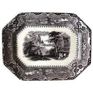 Black & White English Ironstone Platter For Sale