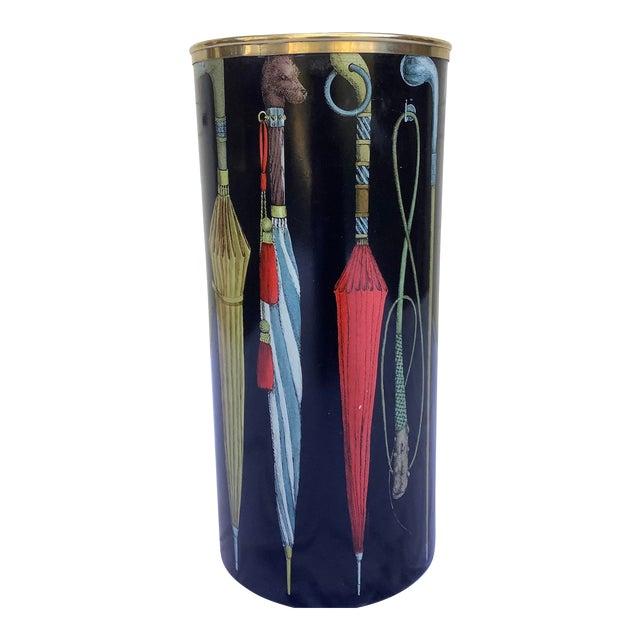 1970s Fornasetti Umbrella Print Black and Brass Umbrella Stand For Sale
