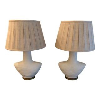 Contemporary White/Cream Table Lamps - a Pair For Sale