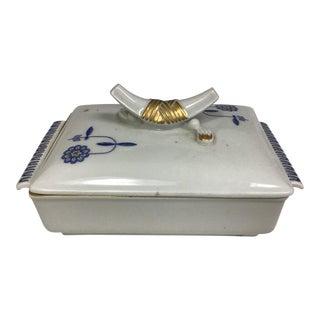 Vintage Meissen Porcelain Trinket Box With Blue Flowers For Sale